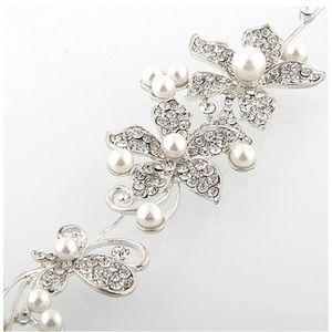 Crystal Rhinestone Faux Pearl Flower Headband